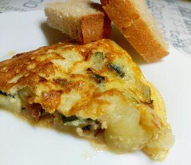 Tortilla de patata con ajetes y calabacín