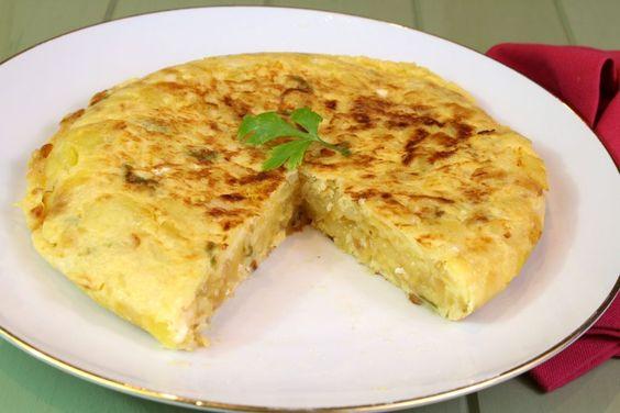 Tortilla de patata con bacalao