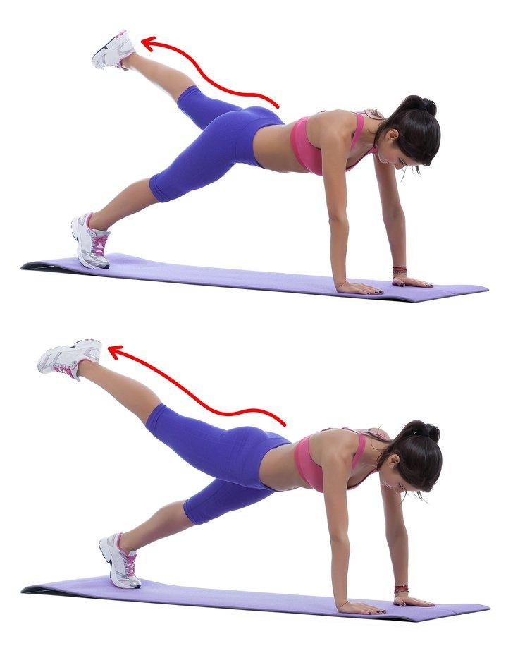 Elevación pierna en plancha