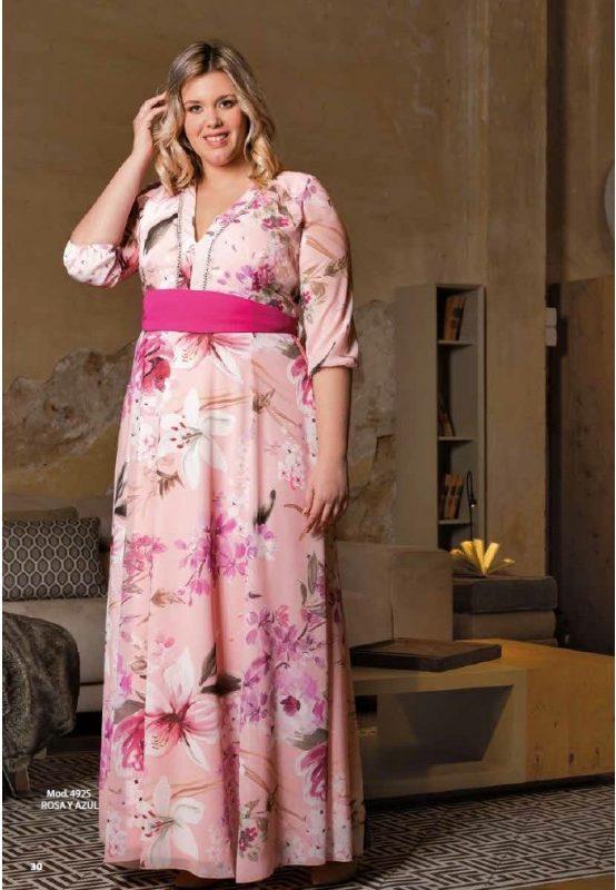 Bellezas con gran elegancia Vestido rosa estampado con fajín