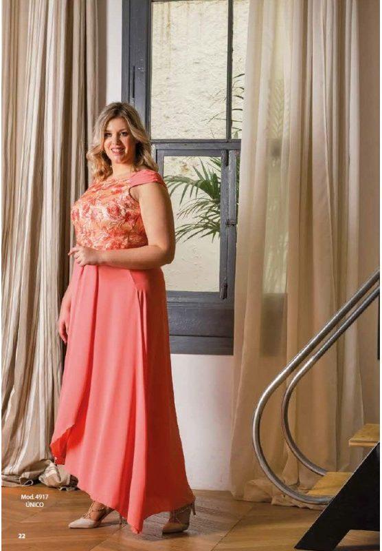 Bellezas con gran elegancia Vestido salmón largo con drapeado