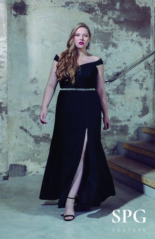 Bellezas con gran elegancia Vestido negro con falda abierta