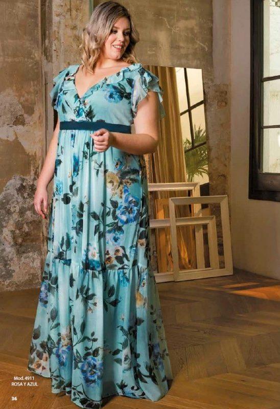 Bellezas con gran elegancia Vestido largo turquesa estampado