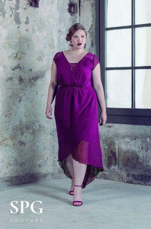 Vestido purpura asimétrico