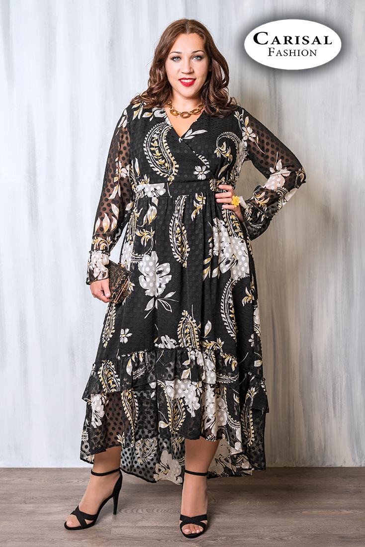Bellezas con gran elegancia Vestido asimétrico estampado