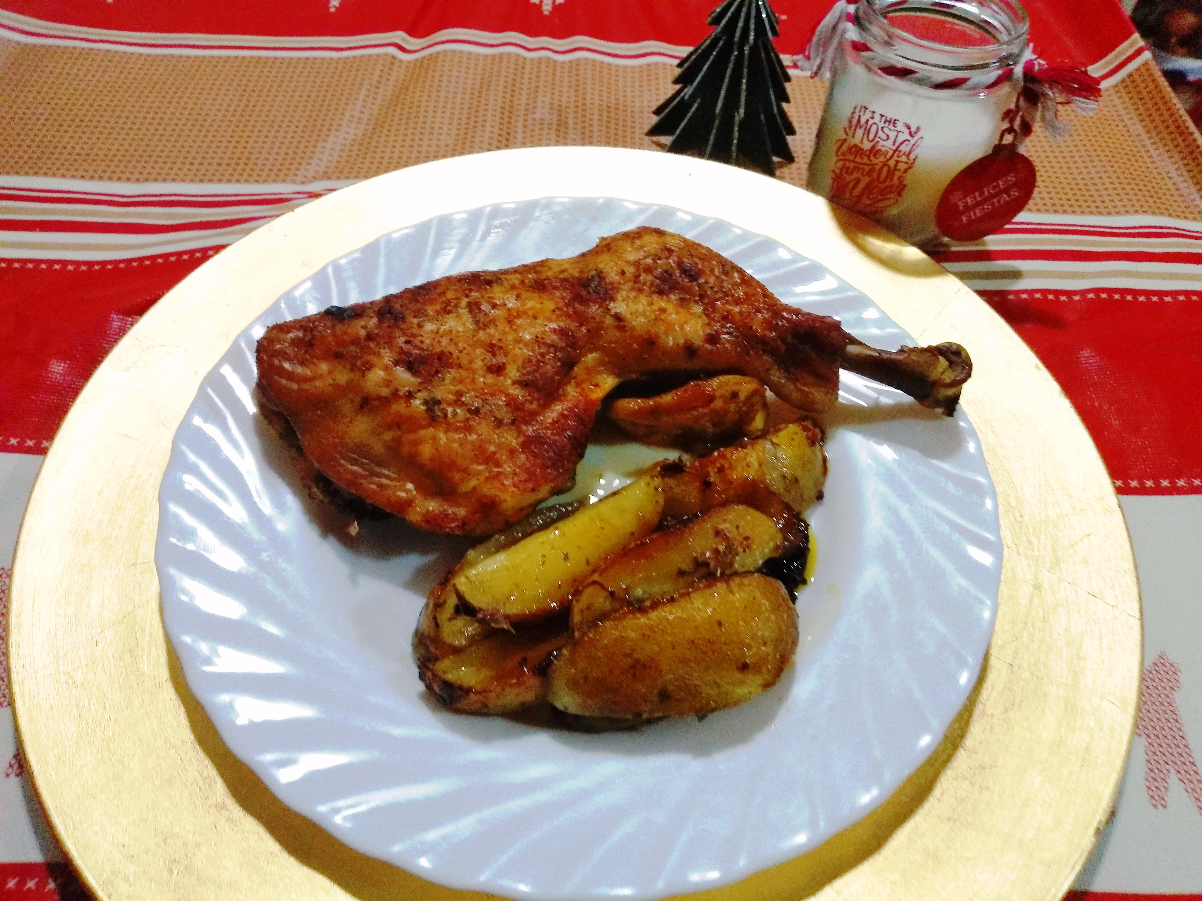 Menú de nochebuena sin excesos Pollo asado con patatas