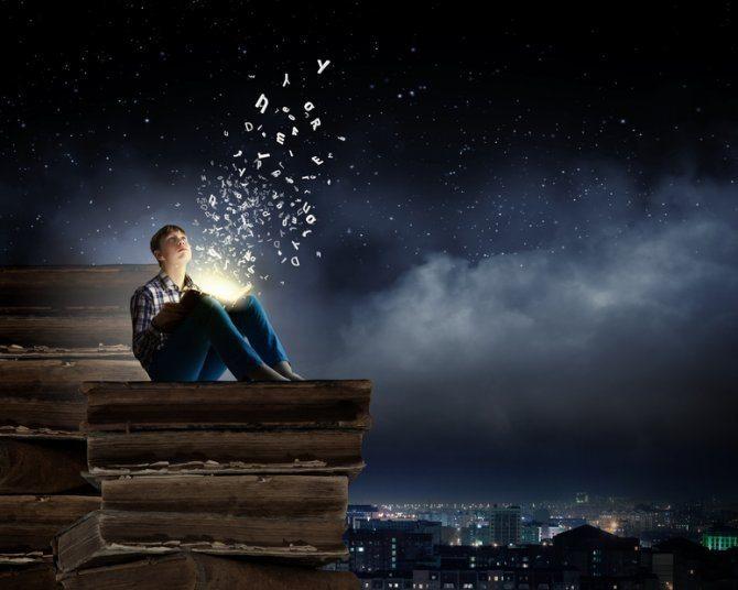 La información se escapa del libro en un sueño