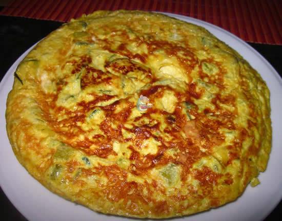 Tortilla de calabacín con trigueros
