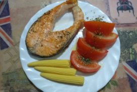 Salmón y huevos ¡Buen menú!