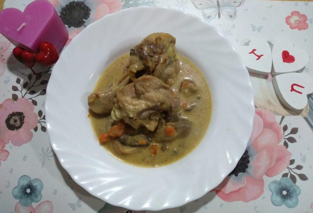 pollo con setas provenzal para enamorar El resultado del plato acabado