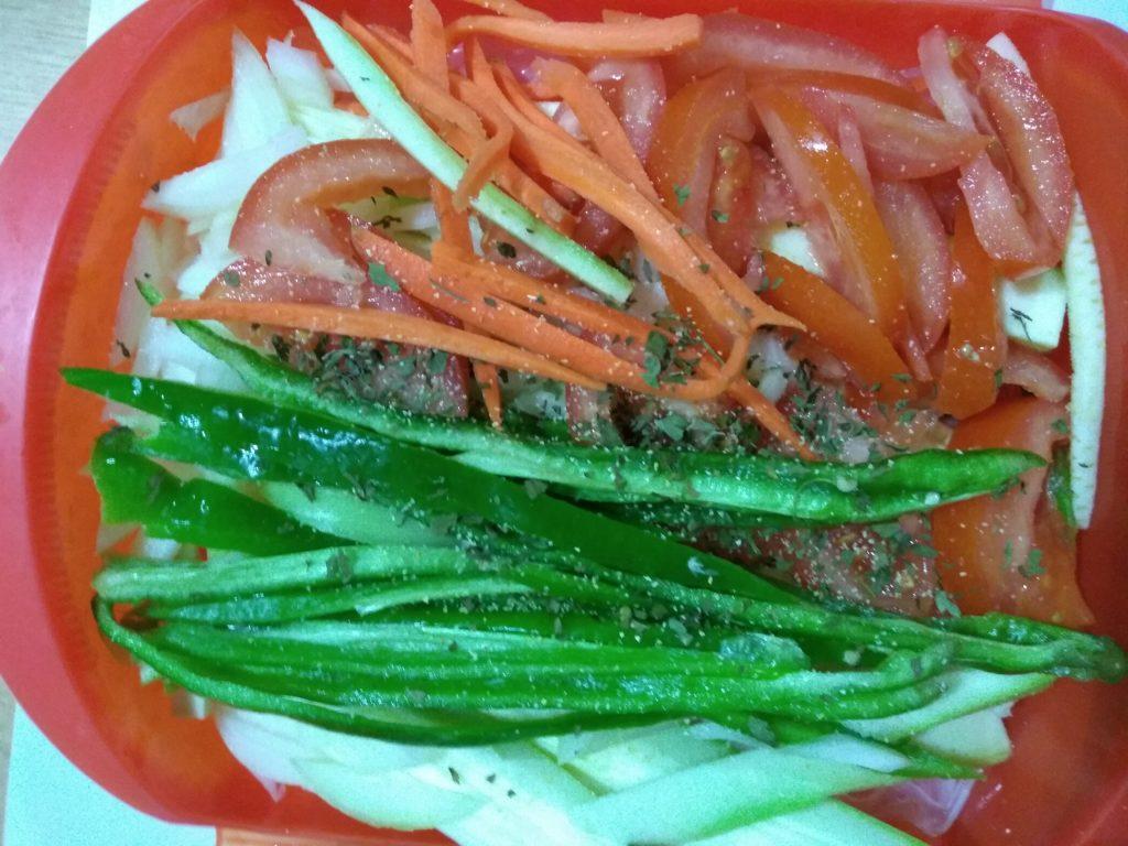 Brótola en papillote con verduras