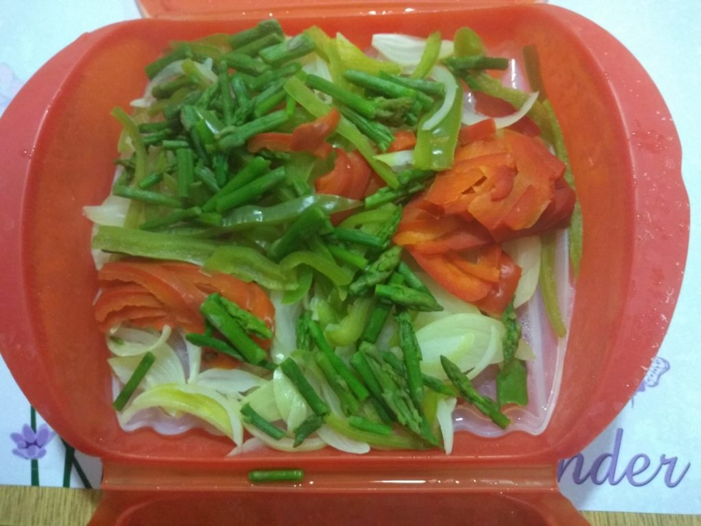 Verduras verdes vaporizadas