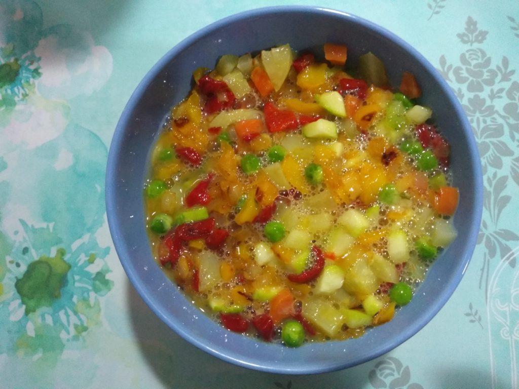 verdura con huevos